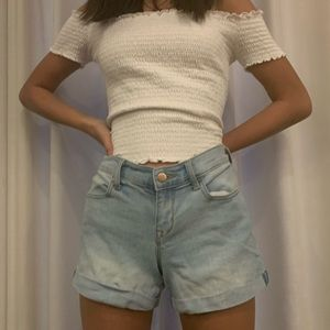 Semi Fitted Light Wash Denim Jean Shorts